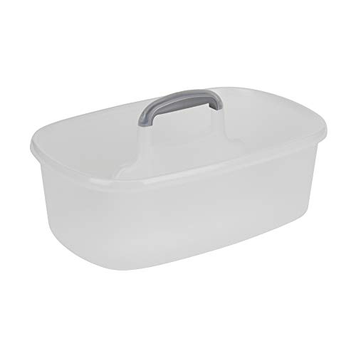 Casabella Cleaning Handle Bucket, Clear/Silver Rectangular Storage Caddy, Graphite, 4 gallons,...