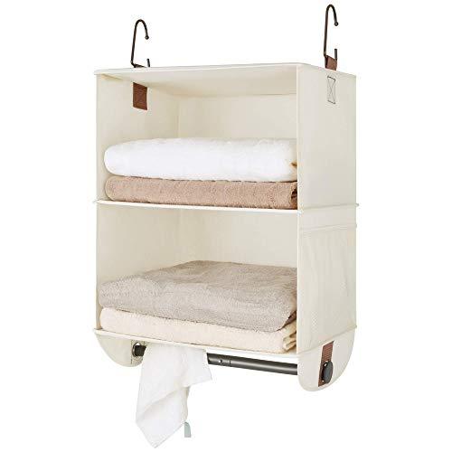 StorageWorks Hanging Closet Organizer with Garment Rod, 2 Section Jumbo Closet Hanging Shelves,...
