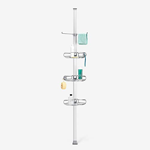 simplehuman 9' Tension Pole Shower Caddy, Stainless Steel and Anodized Aluminum