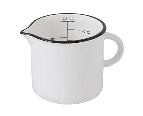 Creative Co-Op Large White Stoneware Measuring Cup with Black Rim