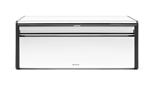 Brabantia Fall Front Bread Box - Brilliant Steel with Black Sides,