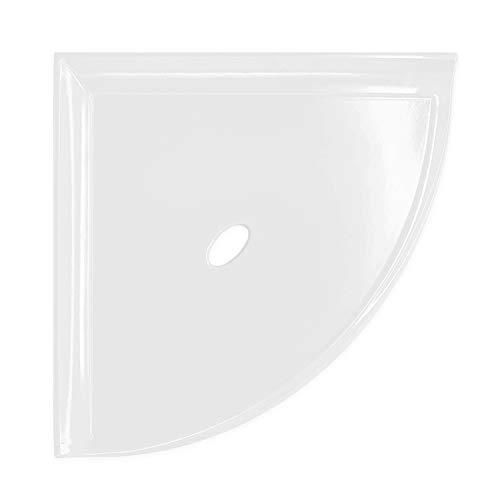 Questech 8 inch Corner Shower Shelf - Polished Bright White Wall Mounted Bathroom Organizer Metro...