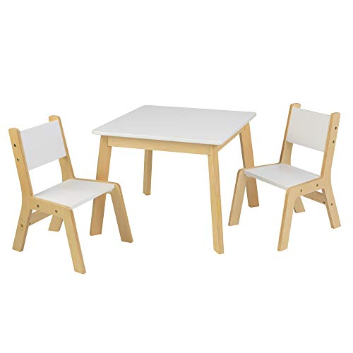 KidKraft Wooden Modern Table & 2 Chair Set, Children's Furniture, White & Natural, Gift for Ages 3-8