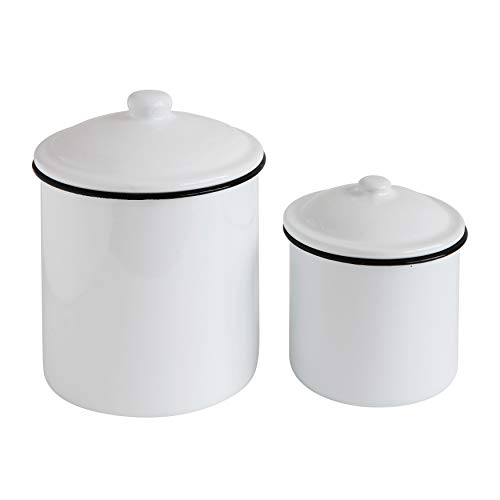 Creative Co-Op Set of Two Canisters, Set of 2, White