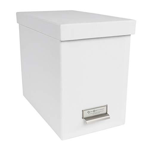 Bigso John Fiberboard Label Frame Desktop File Storage Box, 10.2 x 7 x 13 in, White
