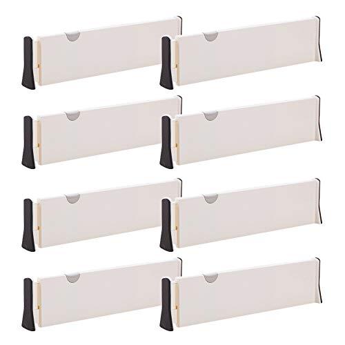 Set of 8 Adjustable Drawer Dividers Organizer Separators PlasticDresser Organizer for Bedroom,...