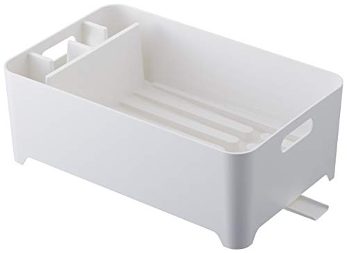 Yamazaki Home Dish Drainer-Drying Rack for Kitchen Counters, One Size, White