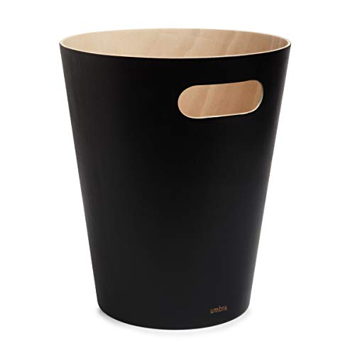 Umbra 082780-045 Woodrow 2 Gallon Modern Wooden Trash Can Wastebasket or Recycling Bin for Home or...