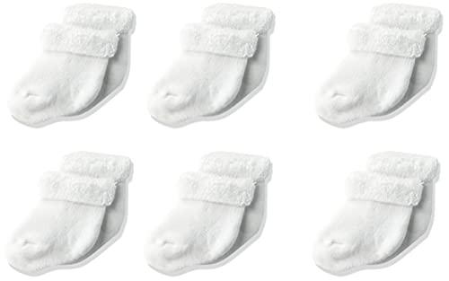 Gerber Baby Unisex 6 Pack Socks, White, 3-6 Months
