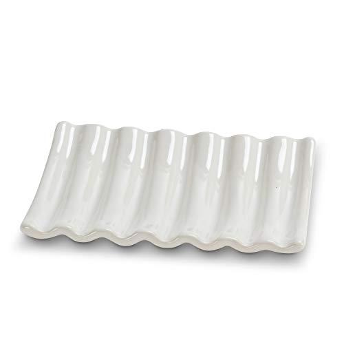 Abbott Collection 27 Ridged Soap Dish-Wht-5' L, 5.25 inches L, White