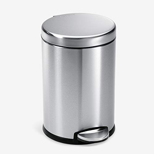 simplehuman 4.5 Liter / 1.2 Gallon Round Bathroom Step Trash Can, Brushed Stainless Steel