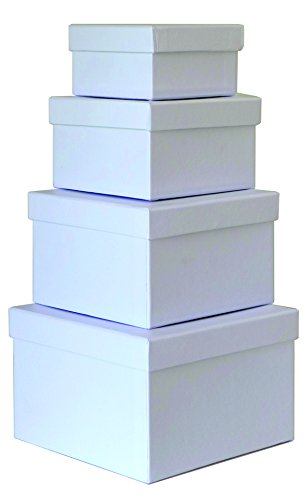 Cypress Lane Square Rigid Gift Boxes, a Nested Set of 4, 3.5x3.5x2 to 6x6x4 inches, small...
