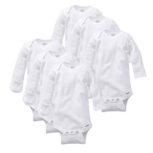 Gerber Baby 6-Pack Long-Sleeve Mitten-Cuff Onesies Bodysuit, white, Newborn