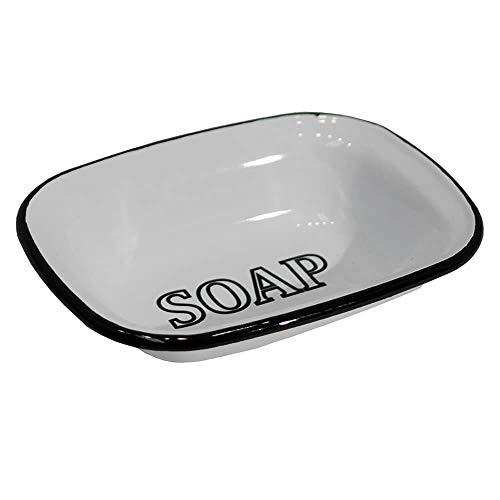 White Enamel Soap Dish with Black Lettering