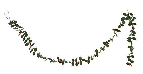 Creative Co-Op Green Felt Holly Leaf Red Bells Garland