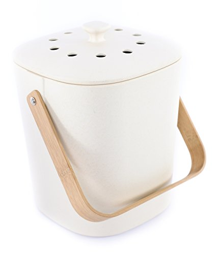 Bamboozle Kitchen Compost Bin – Indoor Countertop Food Composter, Made of Sustainable Bamboo Fiber...