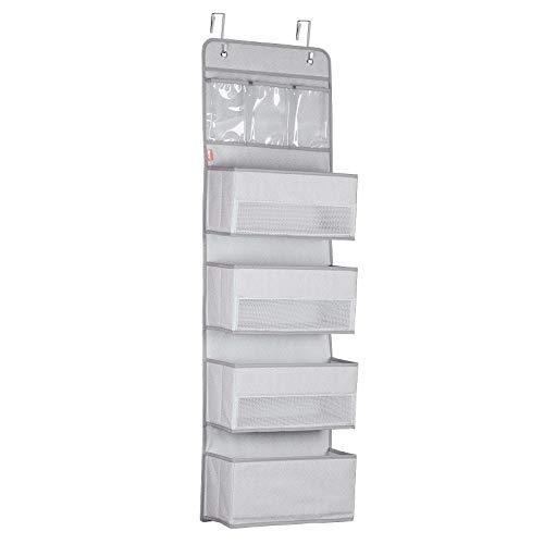 Univivi Door Hanging Organizer Nursery Closet Cabinet Over The Door Organizer with 4 Large Pockets...