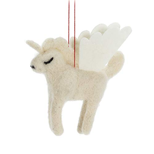 Abbott Collection 27-MAPLE-1021 Unicorn Ornament-4' L, 4 inches L, Ivory