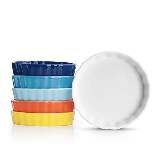 Sweese 505.002 Porcelain Ramekins Round Tart Pan Mini Fluted Quiche Dishes - 5 Ounce for Creme...