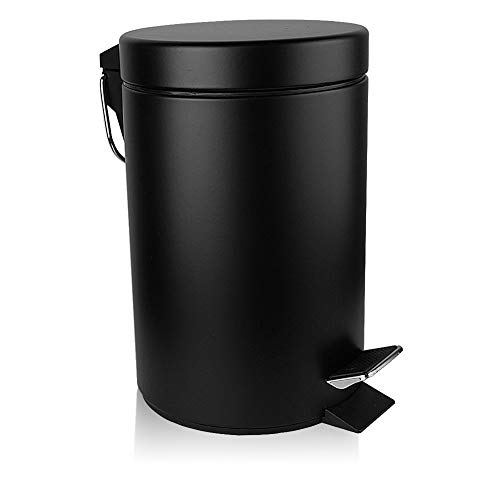 H+LUX Small Trash Can with Lid Soft Close, Foot Pedal Round Bathroom Garbage Can with Stainless...