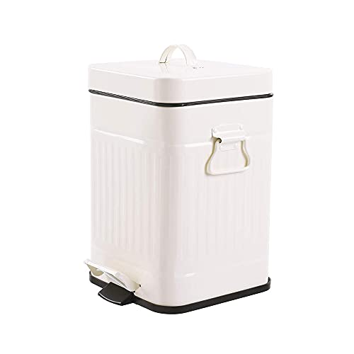 Bathroom Trash Can with Lid, Small Cream White Wastebasket for Bedroom with Soft Close Lid, Retro...