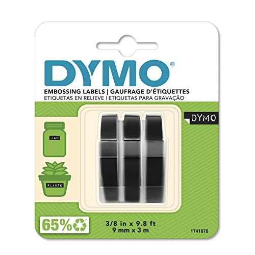 DYMO 3D Plastic Embossing Labels for Embossing Label Makers, White Print on Black, 3/8'' x 9.8',...