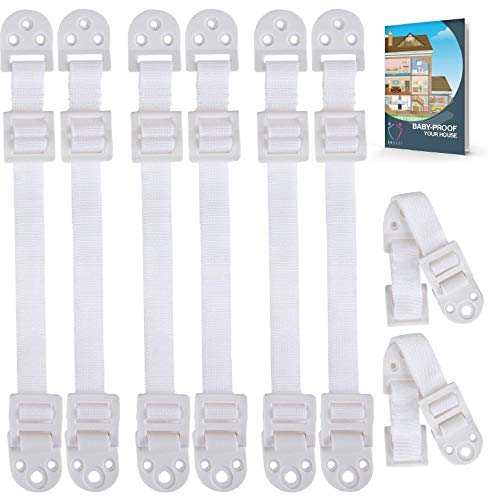 Furniture Anchors for Baby Proofing (8 Pack+EBOOK) TV Straps Safety Anti-Tip Kit, Furniture Mount...