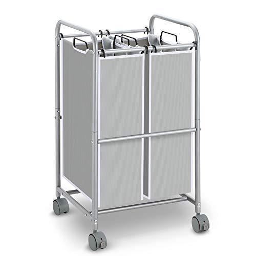 Simple Trending Heavy Duty 2-Bag Laundry Hamper Sorter Cart with Rolling Wheels, Silver