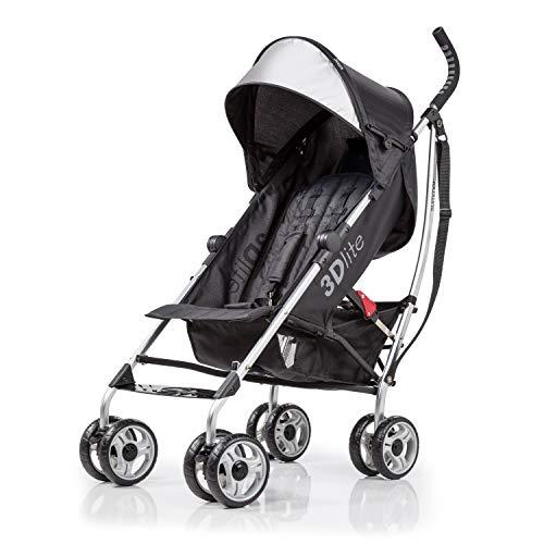 Summer Infant 3Dlite Convenience Stroller, Black (Silver Frame)