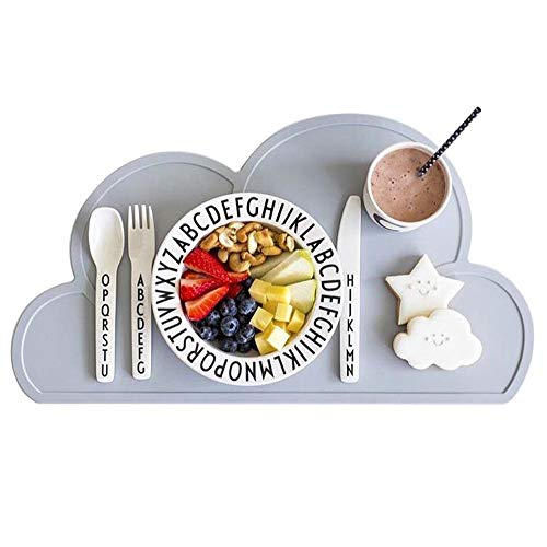 Kids Placemat - Eating On The Cloud, Silicone Placemat Waterproof Baby Placemat, Portable Food Mat...