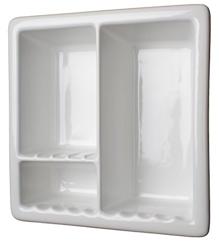 3c Sanitary 3 Section Tile Recessed Ceramic Shower Niche Shelf-Gloss White Shampoo