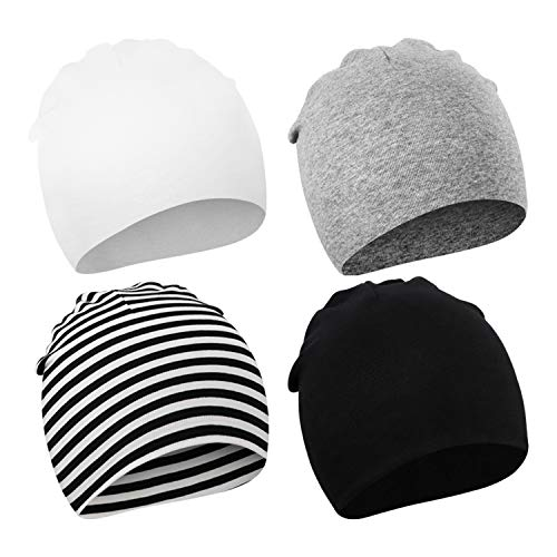 DRESHOW BQUBO 4 Pieces Baby Beanie Newborn Toddler Soft Cute Knit Hat Hospital Hats for Baby Boys...