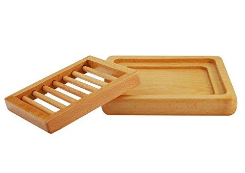 2 Piece Wood Soap Dish (l) 5 1/2' x (w) 4 3/4' x (h) 1'