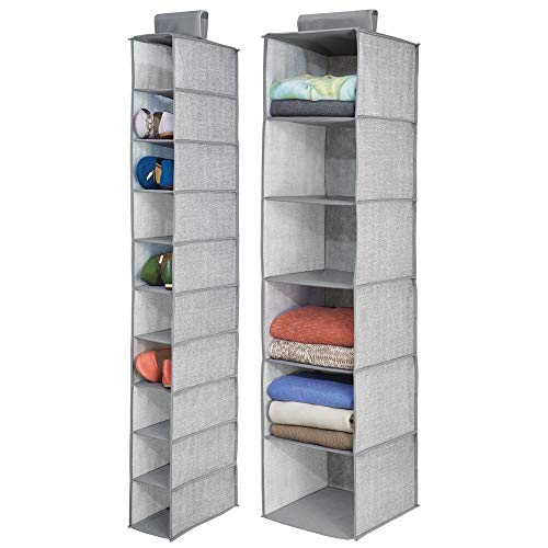 mDesign Fabric Over Rod Hanging Closet Storage Organizers, Includes a Wide 6-Shelf Sweater...