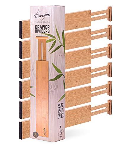 Drawer Dividers Bamboo Kitchen Organizers Set of 6 - Spring Loaded Drawer Divider Adjustable &...
