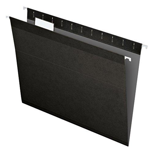 Pendaflex 04152 1/5 BLA Reinforced Hanging File Folders, Letter Size, Black, 1/5 Cut, 25/BX (4152...