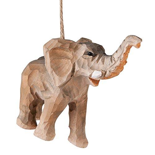 C&F Home Elephant Wood Carved Wildlife Safari Christmas Xmas Ornament Multi