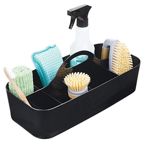 mDesign Plastic Portable Storage Organizer Caddy Tote, Divided Bin, Handle for Bathroom, Kitchen...