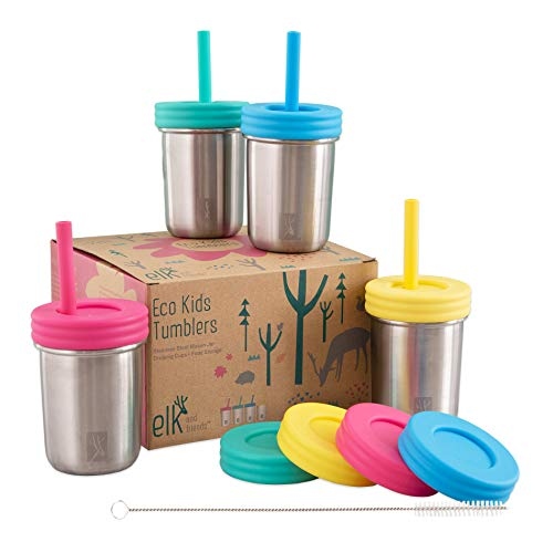 Elk and Friends Stainless Steel Cups / Mason Jar 10oz - Kids cup/Toddler Cups with Straws, Straw &...