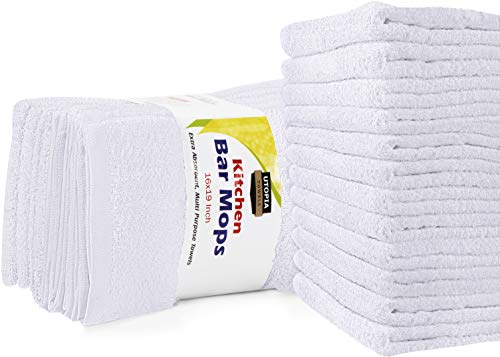 Utopia Towels Kitchen Bar Mops Towels, Pack of 12 Towels - 16 x 19 Inches, 100% Cotton Super...