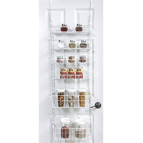 Smart Design Over The Door Adjustable Pantry Organizer Rack w/ 6 Adjustable Shelves - Steel Metal -...