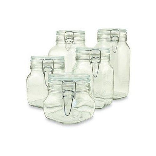Set of 5 (Five) Bormioli Rocco Fido Glass Canning Jars - 5 Piece - .5, .75, 1, 1.5 and 2 Liters