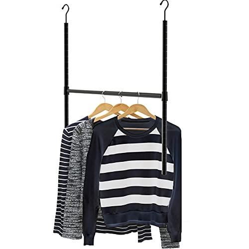 SimpleHouseware Adjustable Closet Hanging Rod, Black