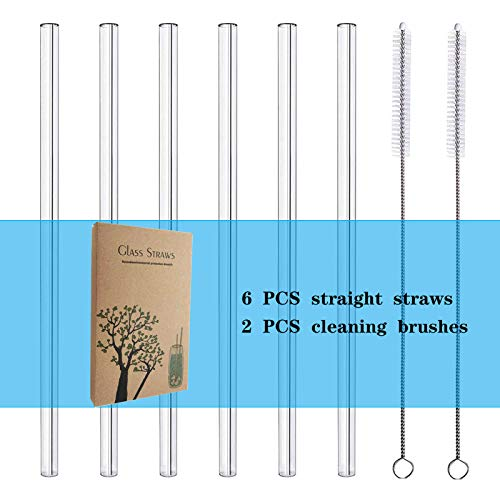 STREWEEK 6 Pieces 8.5 inches x 10 mm Glass Straws, Perfect For Cold/Hot Beverages Such As Smoothies,...