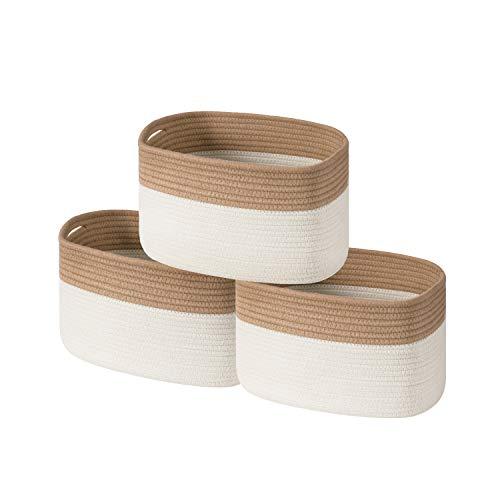 UBBCARE Cotton Rope Storage Baskets Bin Set of 3 Storage Cube Organizer Foldable Decorative Woven...