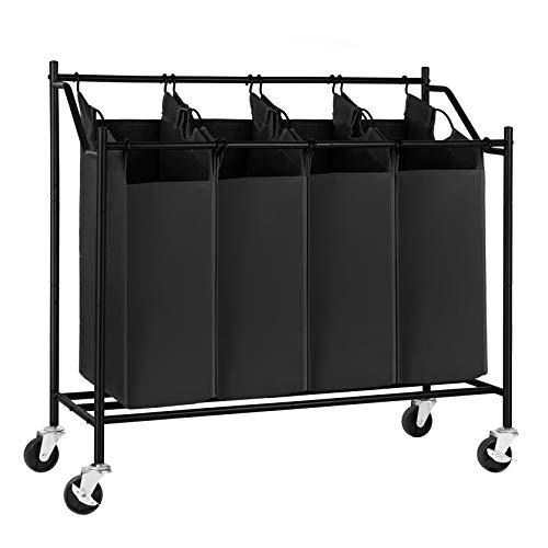 SONGMICS 4-Bag Laundry Cart Sorter, Rolling Laundry Basket Hamper, with 4 Removable Bags, Casters...