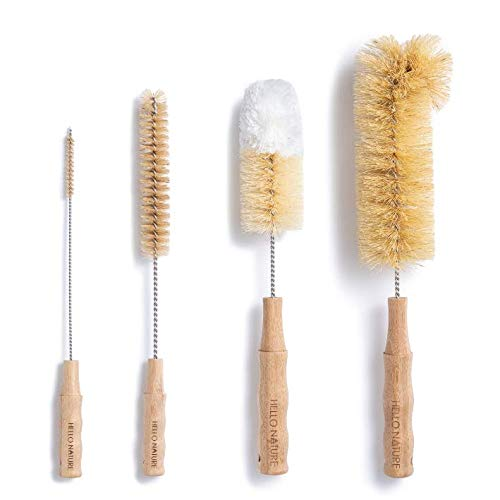 4Pcs Long Handle Bottle Cleaning Brush Set by HELLO NATURE, Sustainable & Biodegradable Natural...