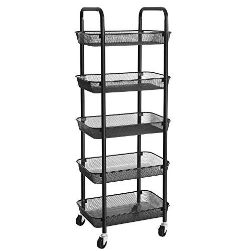 SONGMICS Rolling Cart, 5-Tier Metal Storage Cart, Kitchen Storage Trolley with 2 Brakes, Utility...