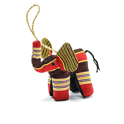 Stuffed Animal Elephant Fair Trade Ornament in Red Kikoy Fabric