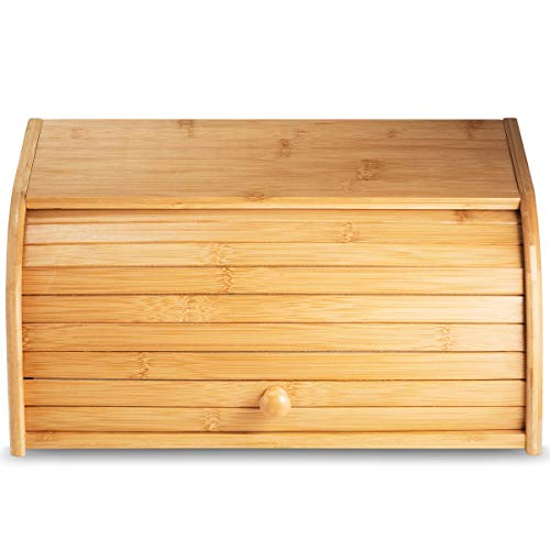 Klee Large Natural Bamboo Roll Top Wood Bread Box for Kitchen Countertop - Farmhouse Style Bread...